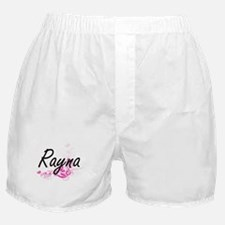 Rayna Artistic Name Design with Flowe Boxer Shorts