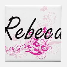 Rebeca Artistic Name Design with Flow Tile Coaster