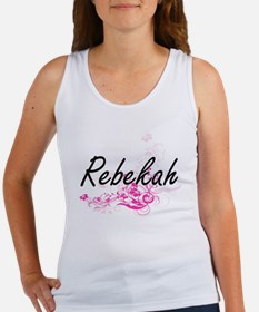 Rebekah Artistic Name Design with Flowers Tank Top