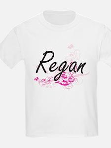 Regan Artistic Name Design with Flowers T-Shirt
