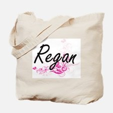 Regan Artistic Name Design with Flowers Tote Bag