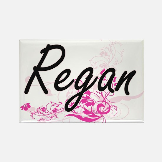 Regan Artistic Name Design with Flowers Magnets