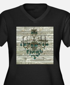 Rustic barn wood chandelier Plus Size T-Shirt