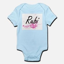 Rubi Artistic Name Design with Flowers Body Suit