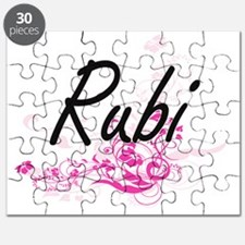 Rubi Artistic Name Design with Flowers Puzzle