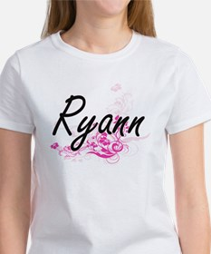 Ryann Artistic Name Design with Flowers T-Shirt