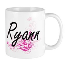 Ryann Artistic Name Design with Flowers Mugs