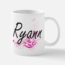 Ryann Artistic Name Design with Flowers Mugs