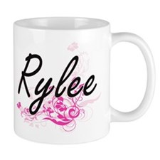 Rylee Artistic Name Design with Flowers Mugs