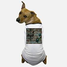 Teal butterfly vintage chandelier Dog T-Shirt