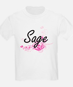 Sage Artistic Name Design with Flowers T-Shirt