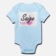 Saige Artistic Name Design with Flowers Body Suit
