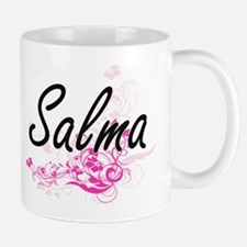 Salma Artistic Name Design with Flowers Mugs