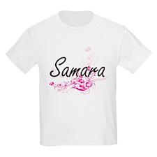 Samara Artistic Name Design with Flowers T-Shirt