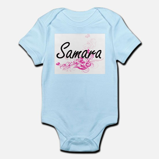 Samara Artistic Name Design with Flowers Body Suit
