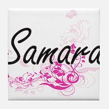 Samara Artistic Name Design with Flow Tile Coaster