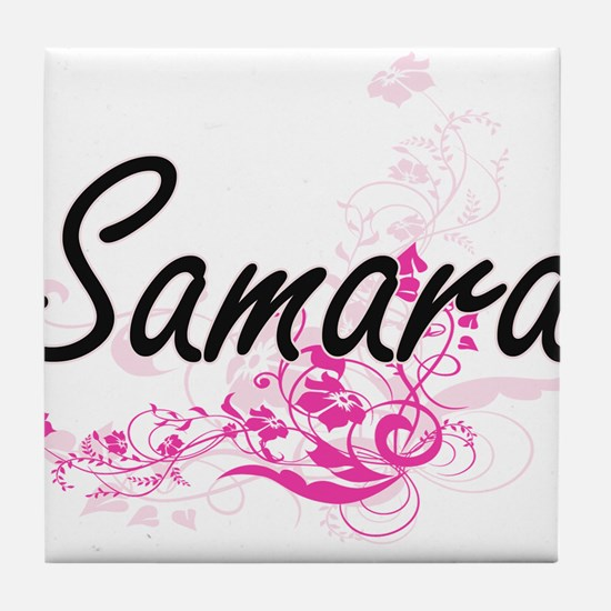 Samara Artistic Name Design with Flow Tile Coaster