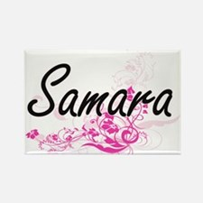 Samara Artistic Name Design with Flowers Magnets