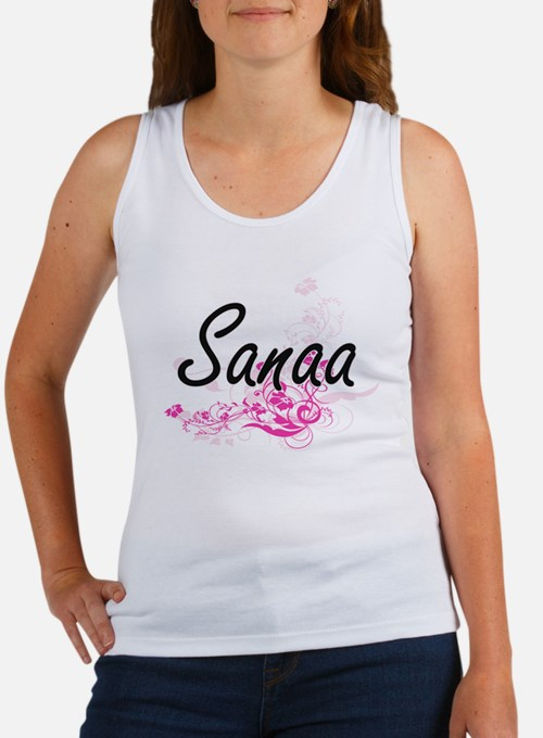 Sanaa Artistic Name Design with Flowers Tank Top
