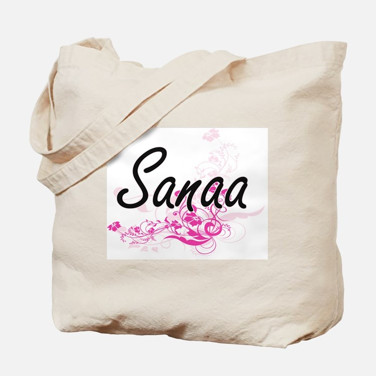 Sanaa Artistic Name Design with Flowers Tote Bag