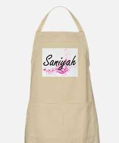 Saniyah Artistic Name Design with Flowers Apron