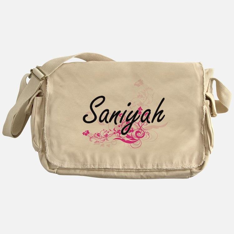 Saniyah Artistic Name Design with Fl Messenger Bag
