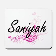 Saniyah Artistic Name Design with Flower Mousepad