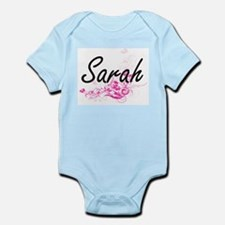 Sarah Artistic Name Design with Flowers Body Suit