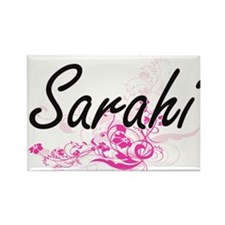 Sarahi Artistic Name Design with Flowers Magnets