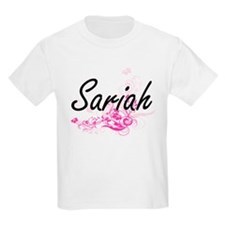 Sariah Artistic Name Design with Flowers T-Shirt