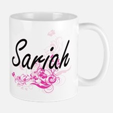 Sariah Artistic Name Design with Flowers Mugs