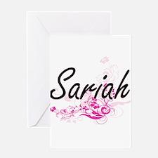 Sariah Artistic Name Design with Fl Greeting Cards