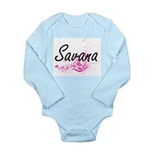 Savana Artistic Name Design with Flowers Body Suit