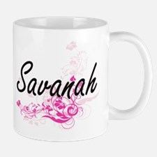 Savanah Artistic Name Design with Flowers Mugs