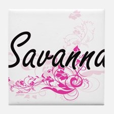 Savanna Artistic Name Design with Flo Tile Coaster