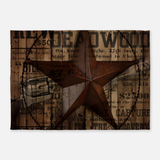 primitive texas lone star cowboy 5'x7'Area Rug
