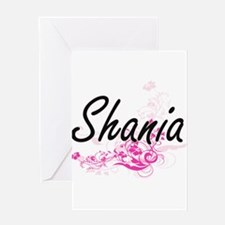 Shania Artistic Name Design with Fl Greeting Cards