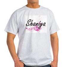 Shaniya Artistic Name Design with Flowers T-Shirt