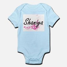 Shaniya Artistic Name Design with Flower Body Suit
