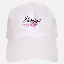 Shaniya Artistic Name Design with Flowers Baseball Baseball Cap