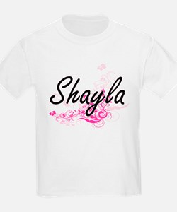 Shayla Artistic Name Design with Flowers T-Shirt