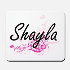 Shayla Artistic Name Design with Flowers Mousepad