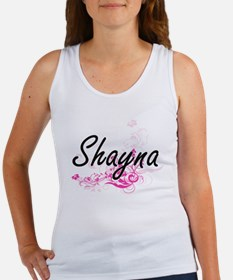 Shayna Artistic Name Design with Flowers Tank Top
