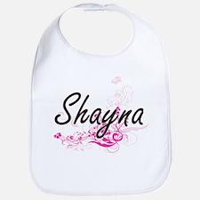 Shayna Artistic Name Design with Flowers Bib