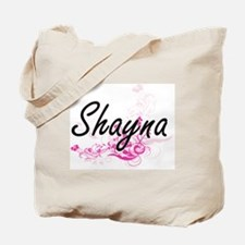 Shayna Artistic Name Design with Flowers Tote Bag