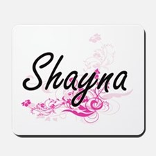 Shayna Artistic Name Design with Flowers Mousepad