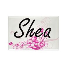 Shea Artistic Name Design with Flowers Magnets