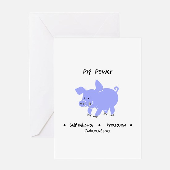 Purple Pig Totem Power Gifts Greeting Cards