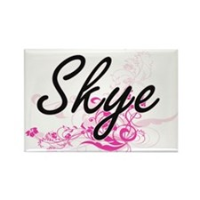 Skye Artistic Name Design with Flowers Magnets
