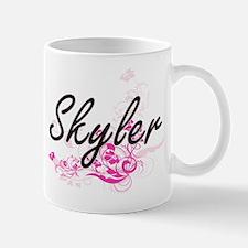 Skyler Artistic Name Design with Flowers Mugs
